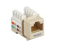 Connect CAT5e Keystone Jack - Unshielded, RJ-45, Ivory, 10-Pack