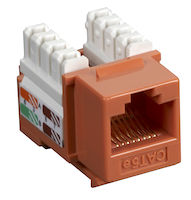 Connect CAT5e Keystone Jack - Unshielded, RJ-45, Orange, 25-Pack