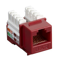 Connect CAT5e Keystone Jack - Unshielded, RJ45, Red, 25-Pack
