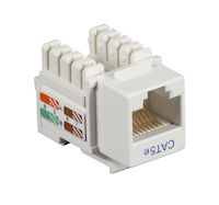 Connect CAT5e Keystone Jack - Unshielded, RJ45, White, 5-Pack