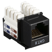 Connect CAT6 Keystone Jack - Unshielded, RJ45, Black, 10-Pack