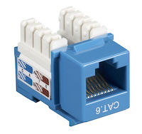 Connect CAT6 Keystone Jack - Unshielded, RJ45, Blue, 5-Pack