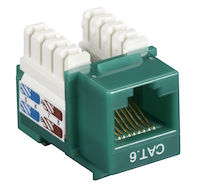 Connect CAT6 Keystone Jack - Unshielded, RJ-45, Green, 25-Pack