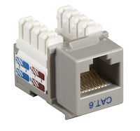 Connect CAT6 Keystone Jack - Unshielded, RJ-45, Gray, 5-Pack