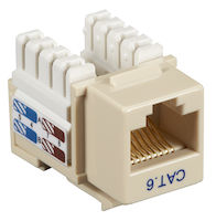 Connect CAT6 Keystone Jack - Unshielded, RJ45, Ivory, 5-Pack