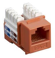 Connect CAT6 Keystone Jack - Unshielded, RJ45, Orange, 5-Pack