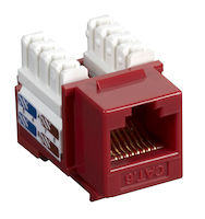 Connect CAT6 Keystone Jack - Unshielded, RJ45, Red, 25-Pack
