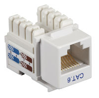 Connect CAT6 Keystone Jack - Unshielded, RJ45, White, 10-Pack