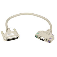KVM User Cable, DB25, VGA, PS/2, with Audio, 20-ft