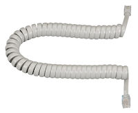 Coiled Telephone Handset Cord - Light Gray, 6-ft.