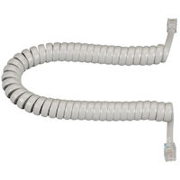 Coiled Telephone Handset Cord - Light Gray, 25-ft.