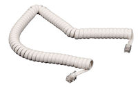 Telephone Coiled Handset Cord White 6Ft.