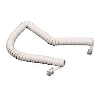 Coiled Telephone Handset Cord - White, 25-ft.