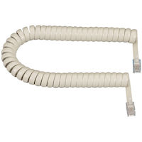 Coiled Telephone Handset Cord - Cream, 12-ft.