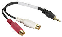 Shielded Y Cord - (1) 3.5-mm Mini Plug, (2) RCA Jack, Female/Female,  4-in. (10.2-cm)