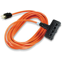 3 25-Ft In/Outdoor Ext Cords, Triple-Outlet, 14/3 Gnd, Orange