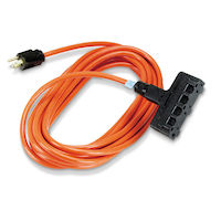 Heavy-Duty Indoor/Outdoor Utility Cord - Triple-Outlet, 14/3 Grounded, Orange, 50-ft.