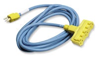 25-Ft In/Outdoor Utility Cord, Triple-Outlet, 12/3 Gnd, Blue