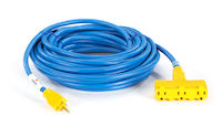 100-Ft In/Outdoor Utility Cord, Triple-Outlet, 12/3 Gnd, Blue