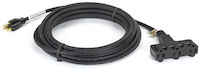 Indoor/Outdoor Utility Cord - Triple-Outlet, 14/3 Grounded, Black, 25-ft.