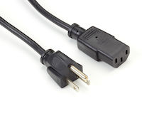 6.5Ft NA Power Cord, Nema 5-15P To Iec-60320C13, Black