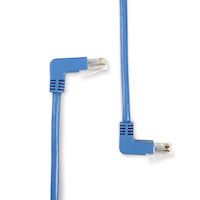 CAT5e 100-MHz Stranded Angled Patch Cable - Unshielded, PVC, Molded Boots, 90° Down-90° Up, Blue, 1-ft.