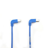 CAT5e 100-MHz Stranded Angled Patch Cable - Shielded, PVC, Molded Boots, 90° Down-90° Up, Blue, 3-ft.
