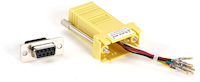 DB9 Female to RJ45F Modular Adapter Kit with Thumbscrews Yellow