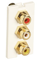 Modular Wallplate Module 3 RCA Office White 1U