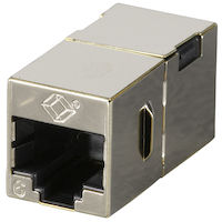 Cat6 Shielded Straight-Pin Coupler Office Silver 10-Pack