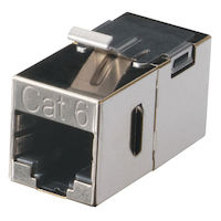 Cat6 Shielded Straight-Pin Keystone Coupler Silver
