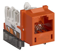 Cat5E Unshielded RJ45 Keystone Jack Orange