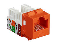 GigaTrue® 2 CAT6 Keystone Jack - Unshielded, 110 Punchdown Type, TAA, Orange