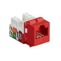 GigaTrue® 2 CAT6 Keystone Jack - Unshielded, 110 Punchdown Type, TAA, Red, 25-Pack