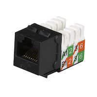 CAT5e Keystone Jack - Unshielded, Black 25-Pack