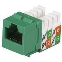 CAT5e Keystone Jack - Unshielded, Green 25-Pack
