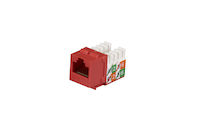 CAT5e Keystone Jack - Unshielded, Red, 25-Pack