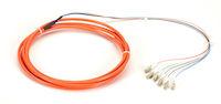 OM1 62.5-Micron Multimode Fiber Optic Pigtail - 6-Strand, OFNR, PVC, LC, Orange, 3-m (9.6-ft.)
