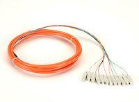 OM1 62.5-Micron Multimode Fiber Optic Pigtail - 12-Strand, OFNR, PVC, SC, Orange, 3-m (9.6-ft.)