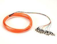 OM1 62.5-Micron Multimode Fiber Optic Pigtail - 12-Strand, OFNR, PVC, ST, Orange, 3-m (9.6-ft.)