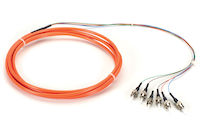 OM1 62.5-Micron Multimode Fiber Optic Pigtail - 6-Strand, OFNR, PVC, ST, Orange, 3-m (9.6-ft.)