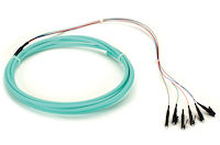 OM3 50-Micron Multimode Fiber Optic Pigtail - 6-Strand, OFNR, PVC, LC, Aqua, 3-m (9.6-ft.)