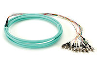 OM3 50-Micron Multimode Fiber Optic Pigtail - 12-Strand, OFNR, PVC, ST, Aqua, 3-m (9.6-ft.)