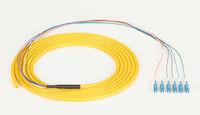 OS2 9-Micron Single-Mode Fiber Optic Pigtail - 6-Strand, OFNR, PVC, LC, Yellow, 3-m (9.6-ft.)