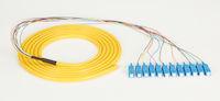 OS2 9-Micron Single-Mode Fiber Optic Pigtail - 12-Strand, OFNR, PVC, SC, Yellow, 3-m (9.6-ft.)