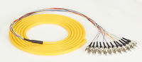 OS2 9-Micron Single-Mode Fiber Optic Pigtail - 12-Strand, OFNR, PVC, ST, Yellow, 3-m (9.6-ft.)