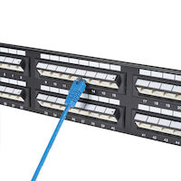 SpaceGAIN CAT5e Patch Panel - 1U, Unshielded, Angled 24-Port (Down)