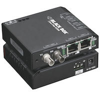 Industrial Media Converter Switch - 10-/100-Mbps Copper to 10-Mbps Fiber, 230-VAC with IEC, Multimode, ST