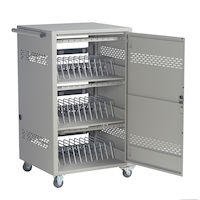 36-Device iPad, Chromebook, Tablet, and Laptop Cart - Steel Top, Fixed Shelves, Hinged Door