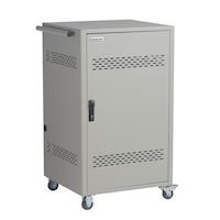 Standard 36-Device Cart - Basic Charging, Steel Top, Fixed Shelves, Hinged Door, Front Cable Management Bars